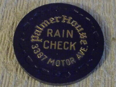PALMER HOUSE RAIN CHECK advertising casino gaming poker chip