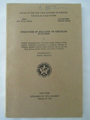 RARE MEDICAL BOOK Structure in Relation to Cellular Function 1950 Robert Chamber