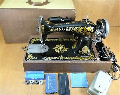 1904 Singer 15 Heavy Duty Straight Sewing Machine - SERVICED - Canvas Leather