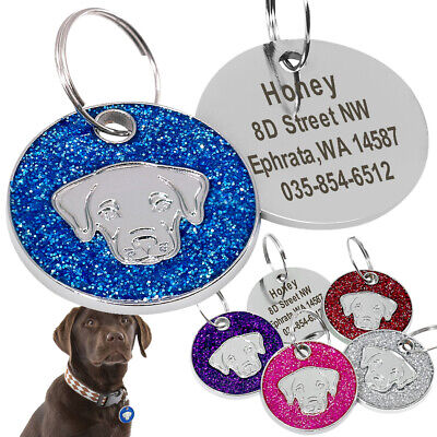 Bling Glitter Personalized Dog Tags Engraved Labrador Head Custom Name ID Number