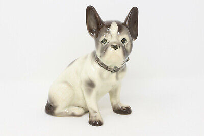 Vintage Porcelain Ceramic French Bulldog Boston Terrier Dog with Collar Figurine