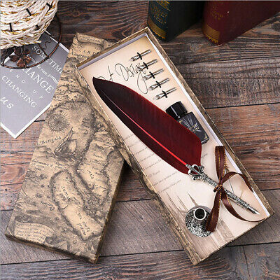 Retro Style Feather Pen Writing Calligraphy Metal Quill Dip Pen 5 Nibs Set Gift.