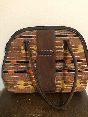 Tupperware Lunch Bag Insulated Brown Suede Embroidered Multicolored