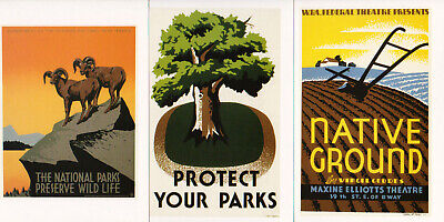 WPA Poster Art Three 3 Postcard Lot Protect Your National Parks Native Ground