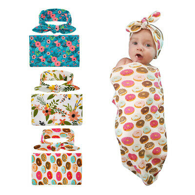 Newborn Infant Baby Floral Donut Sleeping Swaddle Blanket Wrap and Headband