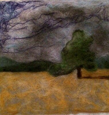 Felting  : Hand crafted original Picture - Oak tree in Summer - merino mix