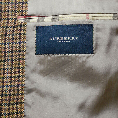 BURBERRY London 40R Sport Coat Flannel Wool Check Houndstooth Brown Olive Rust