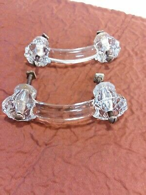 A Set Of Two Antique Circa 1930 Clear Glass Drawer Pulls