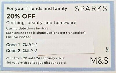 Marks and Spencer 20% OFF DISCOUNT VOUCHERS - CODES Valid 20th Feb - 24th Feb