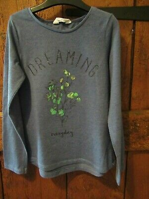 Girls Blue Long Sleeved Top [Dreaming Everyday' Large Sequins Age 6-8 Years GC