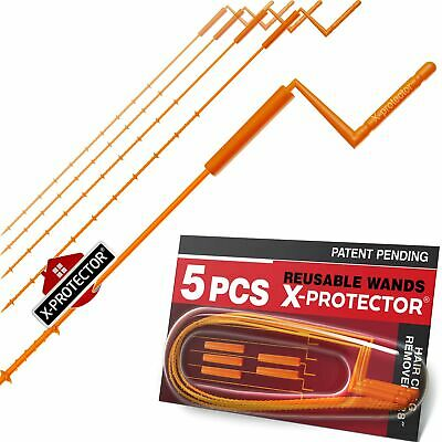 "X-PROTECTOR DRAIN CLOG REMOVER - Orange 28"" Drain Snake - Drain Hair Catcher"