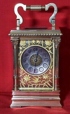 Fret Masked Dial Corinthian Pillar Striking Carriage Clock