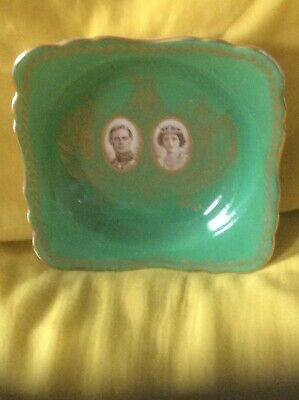 Crown Staffordshire King George VI 1937 Coronation Apple Green & Gold Dish
