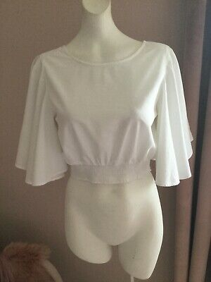 Size 10 River Island White Cropped Cotton Blouse Holiday Beach Festival Boho