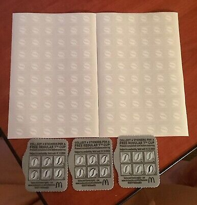 120 MCDONALDS COFFEE STICKERS + 3 Cards With Stickers On End 31/12/2020