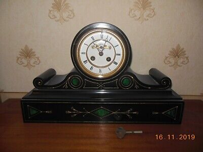Large Antique Belgian Slate Mantle Clock, With Malachite Inserts. Strikes The Ho