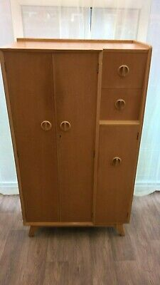 Vintage Compartum Wardrobe Light Oak Solid Wood  Mid Century Furniture Delivery