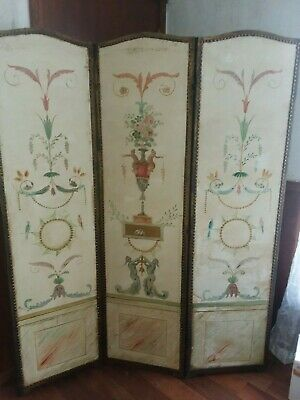 French Art Nouveau Victorian Oil Canvas Hand Painted 3 Panel Screen Room Divider