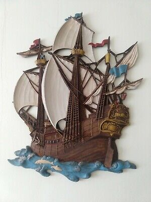 Vintage (mid-century) 1965 SYROCO 3D PIRATE SHIP Plastic Wall Hanging