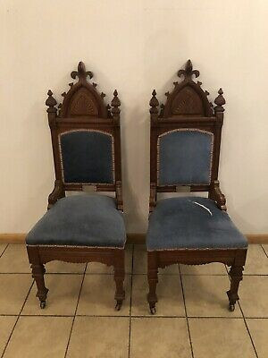 """Pair Of Antique Gothic Revival Walnut Chairs 49"""" X 21"""" X 18"""""""
