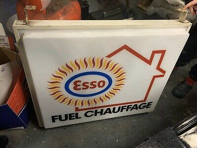 Esso Fuel Chauffage Illuminated Shop Sign Not Enamel Petrol Oil Double Sided