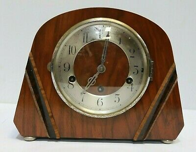 Vintage Art Deco Westminster Wooden Chiming Mantel Clock - 214
