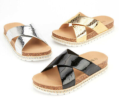 Ladies Womens Summer Sliders Comfy Studded Slip On Mules Flat Sandals Shoes Size
