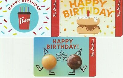 3 Tim Hortons Canada Happy Birthday  $0 Value Collectible Gift Cards