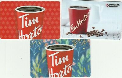 3 Tim Hortons Canada $0 Value Collectible Gift Cards