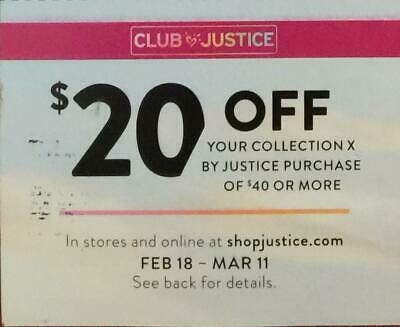 Justice $20 off your COLLECTION X Purchase of $40 or More Feb 18-Mar 11 Coupon