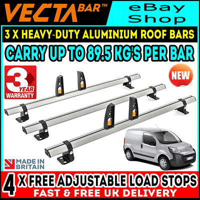 Partner DM64LS+A1 Berlingo 2 Bars Roof Rack and Load Stops Ladder Clamps