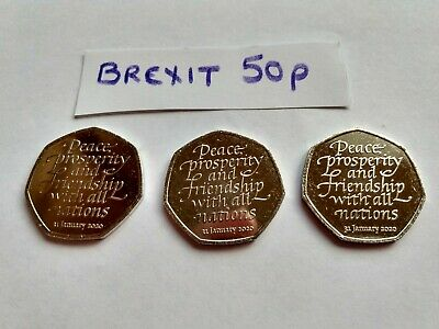 New 2020 Brexit 50P Pence Coin  X 3 - From Sealed Bag Uncirculated