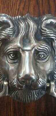 Large Antique Brass Lions Head Door Knocker