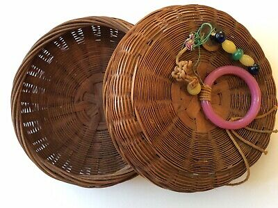 Antique Chinese Wicker Sewing Basket- 7""