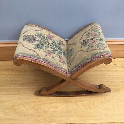 Antique Arts & Crafts Rocking Stool Small Upholstered Old Hand Made Vintage