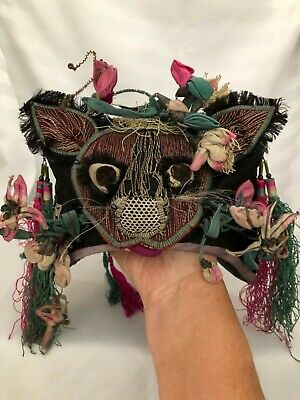 Antique Chinese Silk Embroidered Ornate Child's / Baby Hat Tiger Qing Dynasty