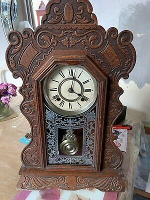 Antique Ansonia Clock company New York Gingerbread Mantel Striking