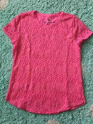 Abercrombie Kid Girl T Shirt Top Hot Pink 13-14 Lace Floral Short Sleeve Tee