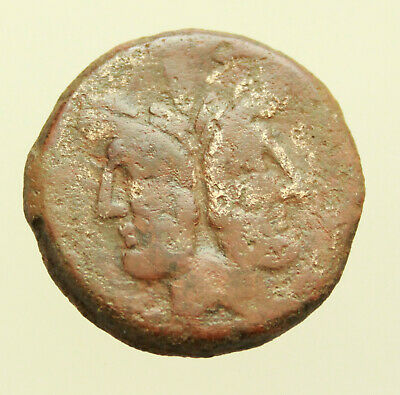 Roman Republic late 3rd to early 2nd Century BC Æ30mm 22g Janus Prow of Galley