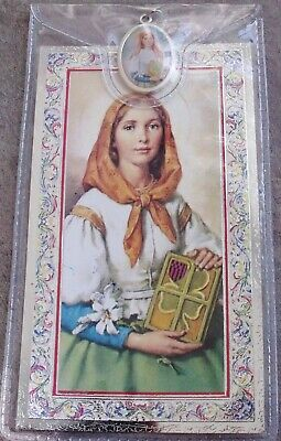 New St. Dymphna Patroness of Nervous Catholic Picture Medal with Prayer Card