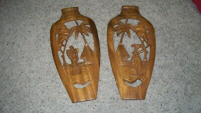 Pair Vintage Philippines Large Hand Carved Wood Scenic Wall Plaques 24x12 ea