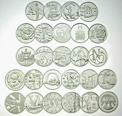 2019  A-Z  Alphabet 10p Coins, Early Strike Uncirculated