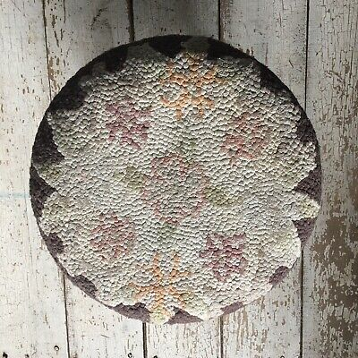 Vintage Round Foot Stool Floral Tapestry Wooden Legs Ottoman