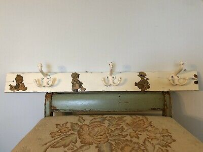 Old Architectural Chippy White Wood Wall Hanger Coat Rack 3 Metal Hooks