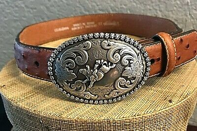 Nocona Toddler Western Ostrich Leather Belt with Bull Rider Silver Buckle