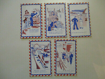 5 RARE World War II Comic Postcards WWII 1940's UNUSED