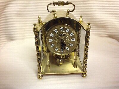 VINTAGE KOMA METAL MANTEL CLOCK WITH KEY GLASS PANELLED CASE GERMANY See Descrip