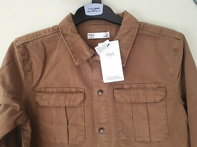 Marks & Spencer Boys Heavy Tobacco Cotton Shirt age 13-14 Years NEW WITH TAGS