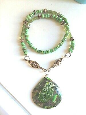 Vintage or antique  Chinese Vermeil, green turquoise and peridot necklace