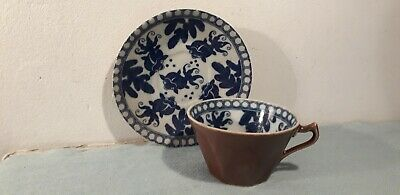 Chinese Antique or Vintage Porcelain Blue, White & Brown Fish Cup & Saucer